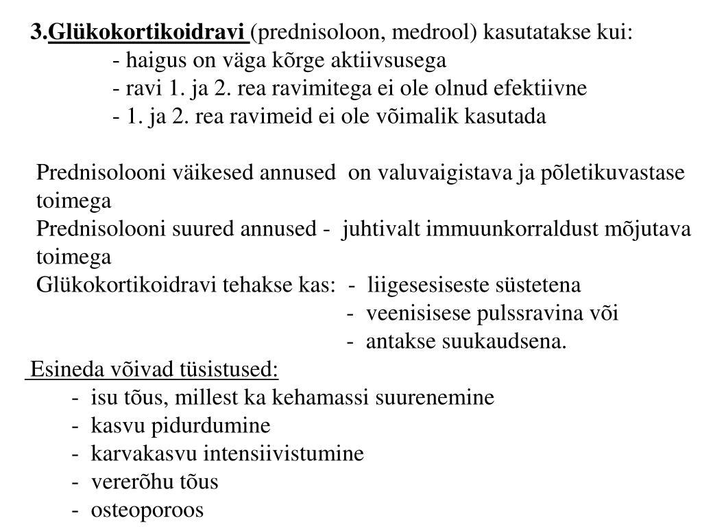 prednisoloon liigestes